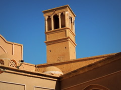 Green architecture: Wind catching tower for air conditioning in old desert city of Kashan, Iran (Germán Vogel) Tags: desertarchitecture windcirculation aircirculation windcatchingtower bookcover beautiful touristattractions famousplace unescoworldheritagesite palace asia westasia middleeast silkroad iran islamicrepublic islamicrepublicofiran travel exploration traveldestinations tourism travelandtourism muslimworld muslimculture middleeastculture ameripalace ameri badgir windtower windcatcher airconditioning greenarchitecture bluesky adobe adobearchitecture architecture iranianarchitecture oasis kashan amerihouse isfahanprovince
