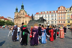 Old Town Square in Prague and Church of St. Nicholas. (ZdenHer) Tags: czechrepublic prague city square church people oldtownsquareinprague statue canonpowershotg7xmarkii