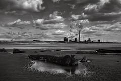 Port Talbot, 2016 (jonnyfriendly) Tags: black white wales porthcawl beach people landscape port talbot steel