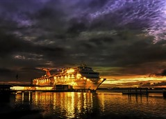 All Aboard (jackwilsonphotoart) Tags: cruise charleston harbor ship sunrise purple blue