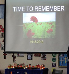 Remembrance displays, painting pots and our Worship time.