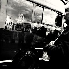 Waiting for the bus (denismartin) Tags: denismartin travel flickrtravelaward travelphotography greece athens bus busstop people peopleportait europe blackandwhite