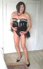bronzemaxblktutu-004 (fionaxxcd) Tags: crossdresser crossdressing transvestite trannie tranny m2f mtf girlboy bust pantyhose basque rednails lipstick stilettosblackpatent frillypetticoat cleavage