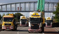 Anyone who is anyone... (stevenbrandist) Tags: crane birstall leicestershire leicester bridge road truck stripe bumper man scania ainscough cranehire da60xgm mx15eyl mx65bbv mx65bbk