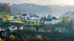 Fribourg, Switzerland (FotoCorn) Tags: fribourg church mist meadow panorama schweiz freiburg architecture green wall village view daylight houses landscape alps mountains hillside rural swiss town colorful scenery misty travel atmosphere nature switzerland fall automn sunlight europe sky tourism
