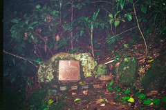 Stinson Wreck plaque, 1993 (NettyA) Tags: 1990s 1993 australia lamingtonnationalpark qld stinsonwreck bushwalk planecrash rainforest scannedprint queensland scenicrim sunshinecoastbushwalkingclub