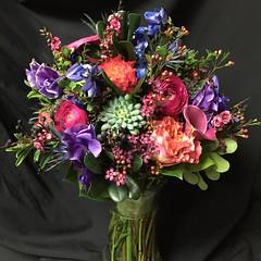 IMG_5164 (rachelslivka) Tags: bouquet bride bridal floral design flowers vibrant colorful pink purple peach blue succulent green waxflower delphinium garden rose calla lily ranunculus privet berries