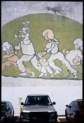 Indianapolis, Indiana (Roger Gerbig) Tags: publicart mural indianapolis indiana rogergerbig fujigw690ii fujichromeprovia100f rdpiii 6x9 120film mediumformat fullframe