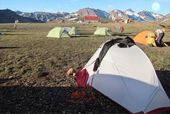 Iceland - Iceland ~ Landmannalaugar Route ~  Ultramarathon is held on the route each July -  Camp Site - Supplies
