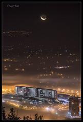 Amanecer (Diego Rai) Tags: moon nightscape city huca hospital oviedo asturias luna noche night nightphotography nocturna lights