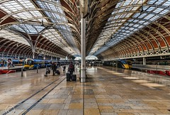 London Nov 2018 071-Edit (Mark Schofield @ JB Schofield) Tags: london paddington railway station rail train commute wrought iron arched burger king bar stall ticket turnstile