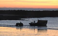 Coble Fishing Boat Launch - Newbiggin Beach (Gilli8888) Tags: newbigginbythesea newbiggin northeast coast seaside northumberland sunrise shoreline seascape sun sky rocks beach turbines northsea nikon p900 coolpix silhouette silhouettephotography tractor coble vehicle newbigginbeach