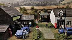 The Hamlet of Mortomley. (ManOfYorkshire) Tags: mortomley micro scale model railway train layout diorama 176 oogauge worksop transport exhibition show 2019 derby lightweight dmu bachmann garage pub hamlet village