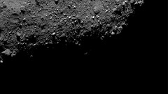 Bennu's Terminator with Crater (sjrankin) Tags: 29january2019 edited nasa bennu osirisrex grayscale asteroid rubble rocks primage terminator crater