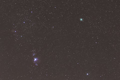Orion Nebula and Wirtanen Comet (Terry L Richmond) Tags: astronomy nebula night galaxy star constellation outerspace light space sky outdoor atmosphere astronomicalobject object dark milkyway water comet orion planet starry wirtanen astronaut stellar