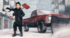 Strength does not come from physical capacity.  It comes from an indomitable will. (Skippy Beresford) Tags: boy child children childhood kids kid winter blizzard snow plow shovel determination strength will holiday christmas santa truck city urban streets light love