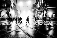 in the middle (Gerrit-Jan Visser) Tags: bewerkt streetphotography amsterdam crossroad pedestrian crossing darkness blackandwhite bnw middle rainy evening