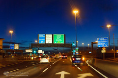 Blue hour at Red Cow (mythicalireland) Tags: blue hour twilight trafffic traffic car cars vehicles dusk road red cow naas dublin m50 junction interchange lights high iso nikon d3x tamron snapshot