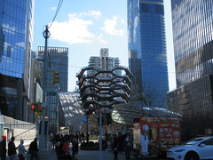 Vessel Stair Case Sculpture Dingus at Hudson Yards 4172 (Brechtbug) Tags: 2019 march visiting the vessel sculpture hudson yards tower near 34th street midtown manhattan new york city nyc 03172019 west side construction center cityscape architecture urban landscape scape view cityview shadow silhouette december close up skyline skyscraper railroad rail yard train amtrak tracks below grown stair stairs buildings above staircase dingus