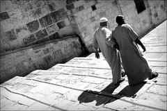when shadows grow longer (bostankorkulugu) Tags: qubbatassakhrah kubbetüssahra domeoftherock templemount jerusalem walk architecture islam holyland israel islamicarchitecture friends men shadow steps shadows stairs