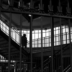In the lit cage (pascalcolin1) Tags: paris13 femme woman métro subway escalier stairs lumière light barreaux bars cage photoderue streetview urbanarte noiretblanc blackandwhite photopascalcolin 50mm canon50mm canon carré square