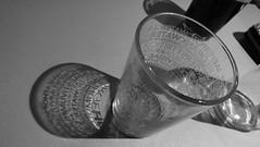 Light reveals the lettering 02 (byronv2) Tags: edinburgh edimbourg scotland glass drink beer stout ale letters lettering shadow shadows sixdegreesnorth pub night nuit edinburghbynight blackandwhite blackwhite bw monochrome newtown