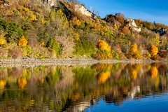 Autumn Reflections (LarryJH) Tags: lake wood tree forest landscape water sky bluffs scarborough reflections serene mountain cliffs blufferspark scarboroughbluffs lakeontario