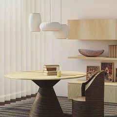 Beautiful beige and brown wooden table and chairs, with white pendant light set. Love the natural colors and look, and the color match of this lovely living room (CoolHomeStyling) Tags: instagram ifttt
