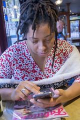 DSC_2860 Shoreditch London Old Street The Masque Haunt JD Wetherspoon English Pub with Alesha from Jamaica on her Phone Again! (photographer695) Tags: shoreditch london with alesha from jamaica old street the masque haunt jd wetherspoon english pub eating lamb shank her phone again