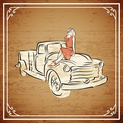 Vintage pickup truck on wooden background (Hebstreits) Tags: 1950s 50s advertising american art auto automobile automotive background car cars christmas classic clip delivery design drawing drive farm fashion forties girl graphic hauling icon illustration isolated label logo motor old pickup red repair retro sign speed style symbol transport transportation tree truck trucks up vector vehicle vintage white work
