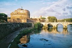Tiber, Rome (kunderwet) Tags: rome italy film analog konica konicahexaraf tiber river light reflection castle 35mm fuji fujifilm c200