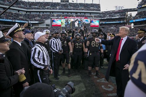President Trump provides the coin-toss