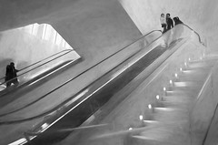 """Stair Walkers"" (Photography by Sharon Farrell) Tags: oculus oculusattheworldtradecenter oculusnewyorkcity theoculus tribeca insidetheoculus manhattan blackandwhite blackwhite blackandwhiteabstract blackwhiteabstract eastcoast monochrome stepsandstairs staircase stairs steps staircases escalator stairway stairporn stairscapes stairwell"