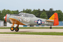 N29931 - 1949 build North American AT-6G Texan, departing from Runway 27 at Oshkosh during Airventure 2018 (egcc) Tags: 49 168583 493449 93449 at6g airventure airventure2018 cbaeroplaincompany c6197 e16197 eaa gtmo harvard kosh lightroom n29931 northamerican osh oshkosh popeye t6g texan usnavy warbird