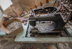 Sweat shop. (Ewski Images) Tags: factory discarded exploreeverything urbex rurex exploration garment sewing sewingmachine beautyindecay decay abandoned