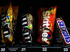 30 thru 33 (Cragin Spring) Tags: unitedstates usa unitedstatesofamerica food vending machine vendingmachine candy chocolate snickers skittles numbers mms candybar milkchocolate peanuts