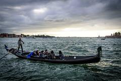 Gondola in the Venetian Lagoon (lasse christensen) Tags: dsc6152 italiaitaly venicevenezia venetianlagoon morning light sky ckouds lys morgen skyer himmel lagunadivenezia gondola gondol