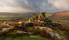 A Chink in the Armour (http://www.richardfoxphotography.com) Tags: chinkwell tor dartmoor national park outdoors sky rain rainy sunrise rock granite moorland bracken widdecombe vale
