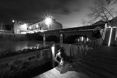 Le fantôme du Pont Neuf (Tonton Gilles) Tags: alençon normandie noir et blanc heure bleue pont neuf parc de la providence rivière sarthe spectre fantôme apparition silhouette pose longue étoiles réverbères lampadaires lumières filé lignes phares voitures bus tonton gilles escaliers paysage urbain