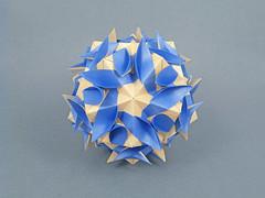 Fiery flower (masha_losk) Tags: kusudama кусудама origamiwork origamiart foliage origami paper paperfolding modularorigami unitorigami модульноеоригами оригами бумага folded symmetry design handmade art