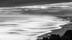 Storm (BadGunman) Tags: southoffrance pier fog mist canon longexposure fromabove france water mer sea leucate cliff