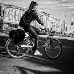 Amsterdam (puliMexNed) Tags: bicycle girl amsterdam dutch blackwhite streephoto