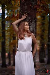 El Sueño de una Tarde de Otoño. (Carlos Velayos) Tags: retrato portrait mujer woman chica girl belleza beauty elegancia elegance luznatural daylight bosque forest otoño autumn arbol tree