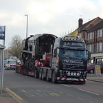 34053 Sir Keith Park steam locomotive on the back of a lorry - Warwick Road, Tyseley thumbnail