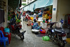 A New Day Begins at the Market:  Tasks at Hand (Ginger H Robinson) Tags: newday morning market opening tasks focus preparation vendor patron fresh produce seafood eggs meat motorcycle colorful benthanhmarket saigondistrict1 saigon hcmc southern vietnam southeastasia early