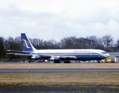 N457PC. Skyworld Boeing 707-323B (Ayronautica) Tags: 1987 march n457pc skyworld boeing707323b airliner ayronautica aviation scanned prestwick egpk pik