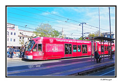 red tram (harrypwt) Tags: harrypwt turkey topkafi istanbul city street people borders framed canons95 s95 tram red