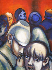 Der Blick. / 09.11.2018 (ben.kaden) Tags: berlin berlinmitte karlliebknechtstrase ronaldparis wandbild kunstderddr kunstambau malereiderddr malerei 1970 2018 09112018 lobdeskommunismus