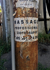 Massage Professional (cowyeow) Tags: georgia georgian caucuses easteurope city composition sign street massage professional rust rusty decay old funnysign pole urban texture tbilisi decayed derelict