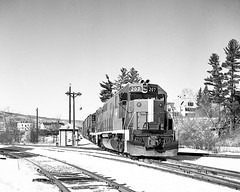 BM 207 on Groveton local G4 switching at Whitefield, NH (Houghton's RailImages) Tags: bm bostonmaine gp382 emd whitefield newhampshire diesel locomotive ballsignals railroad bw trains locomotives